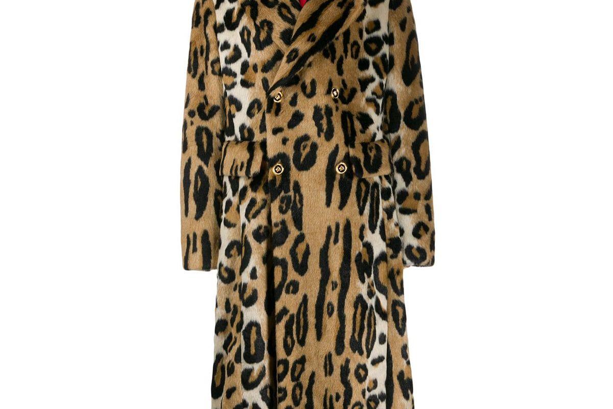 versace leopard print coat