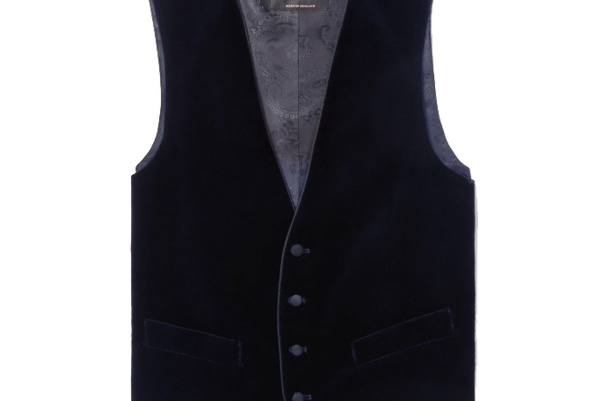 favourbrook navy grosgrain trimmed cotton velvet waistcoat