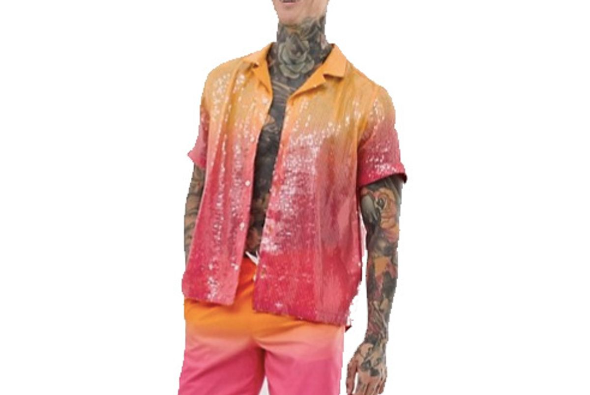 asos design festival relaxed ombre sequin shirt with revere collar