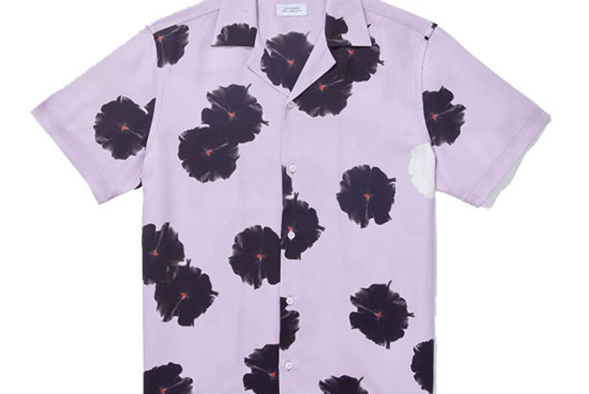 saturdays nyc canty moon flower short sleeve shirt faded plum