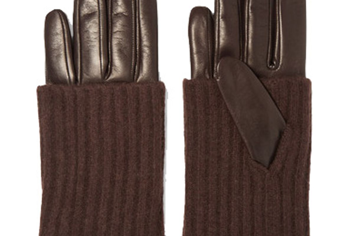 portolano leather and ribbed cashmere gloves
