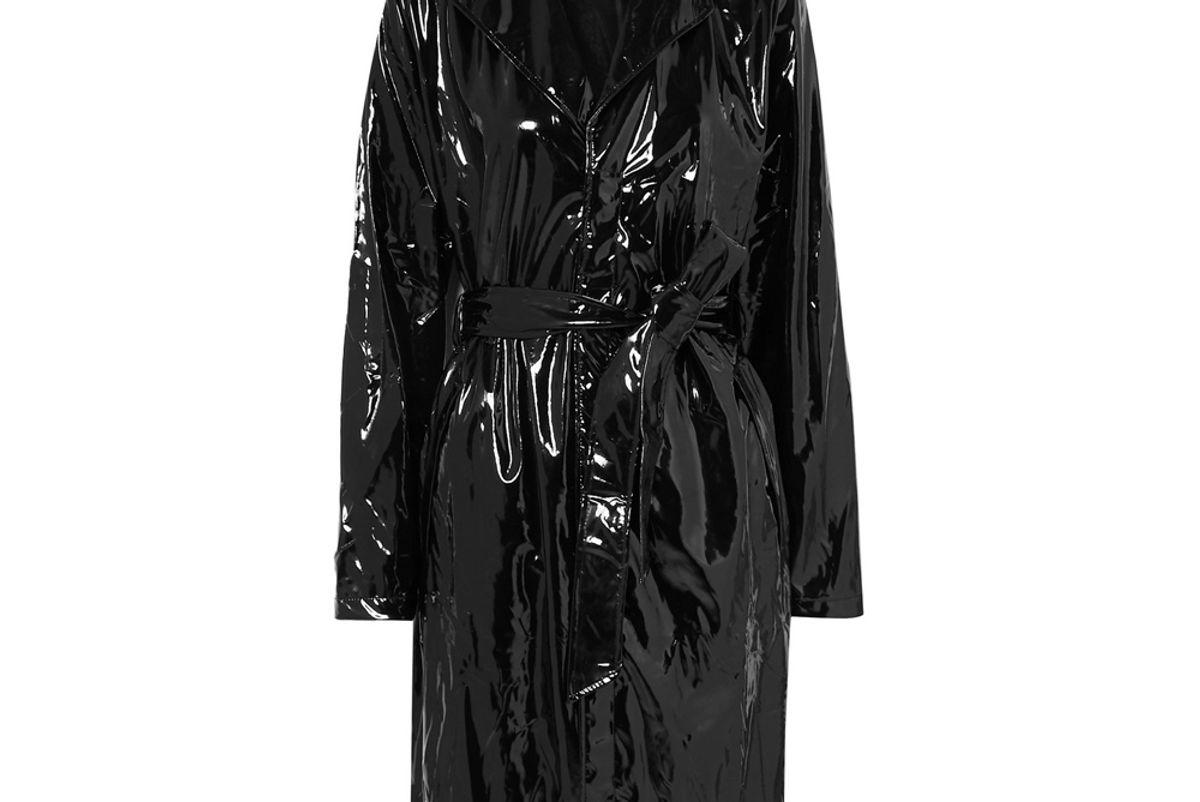 rains glossed pu trench coat