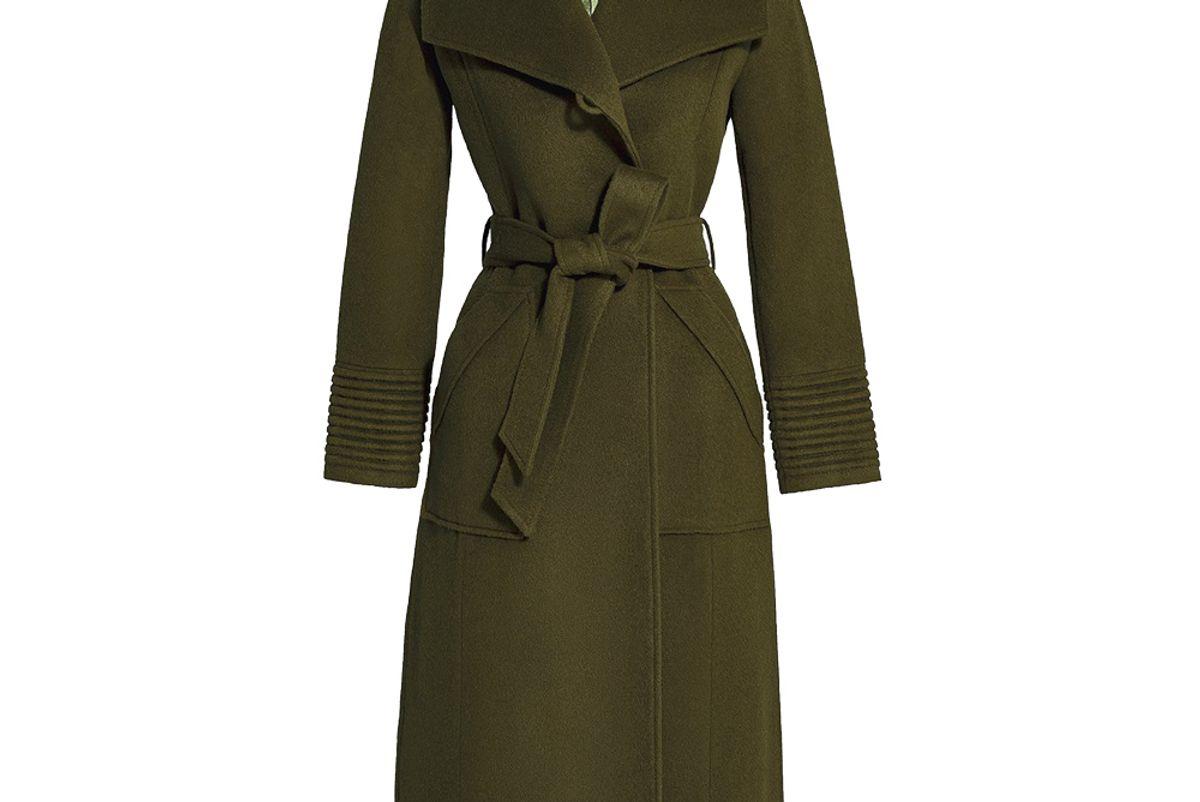 sentaler long wide collar wrap coat