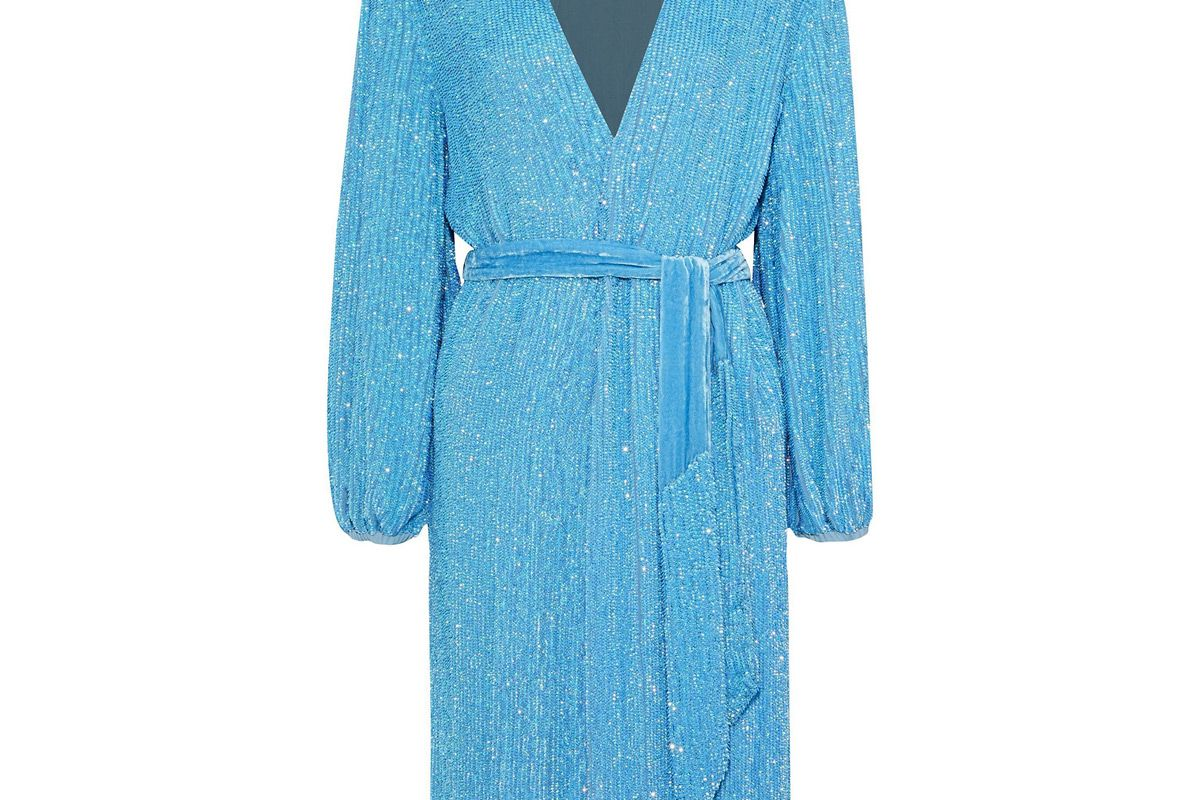 retrofete sequined chiffon wrap dress