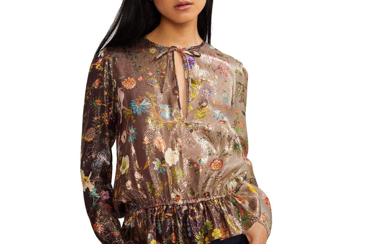 cynthia rowley blair printed silk blouse