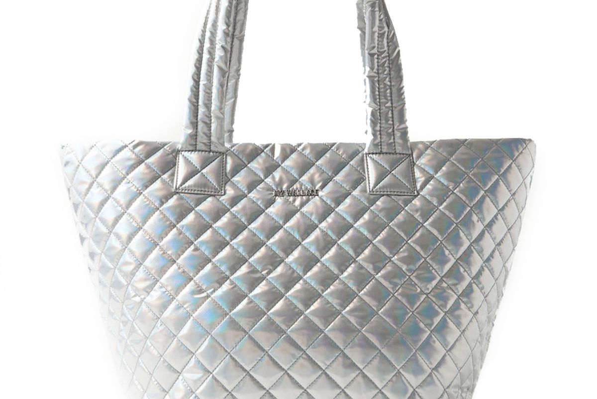 mz wallace metro medium leather trimmed quilted metallic shell tote