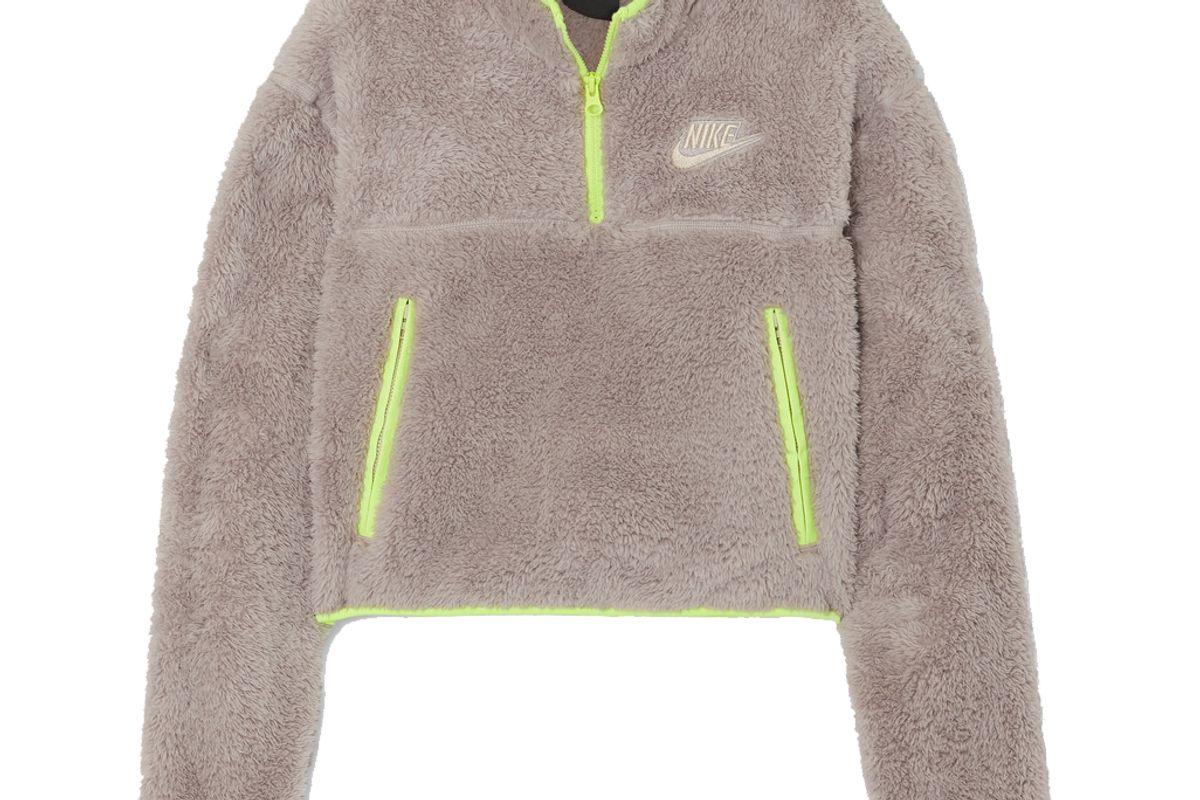 nike cropped jersey trimmed fleece sweatshirt