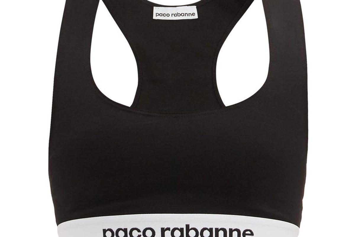 paco rabanne logo jacquard sports bra