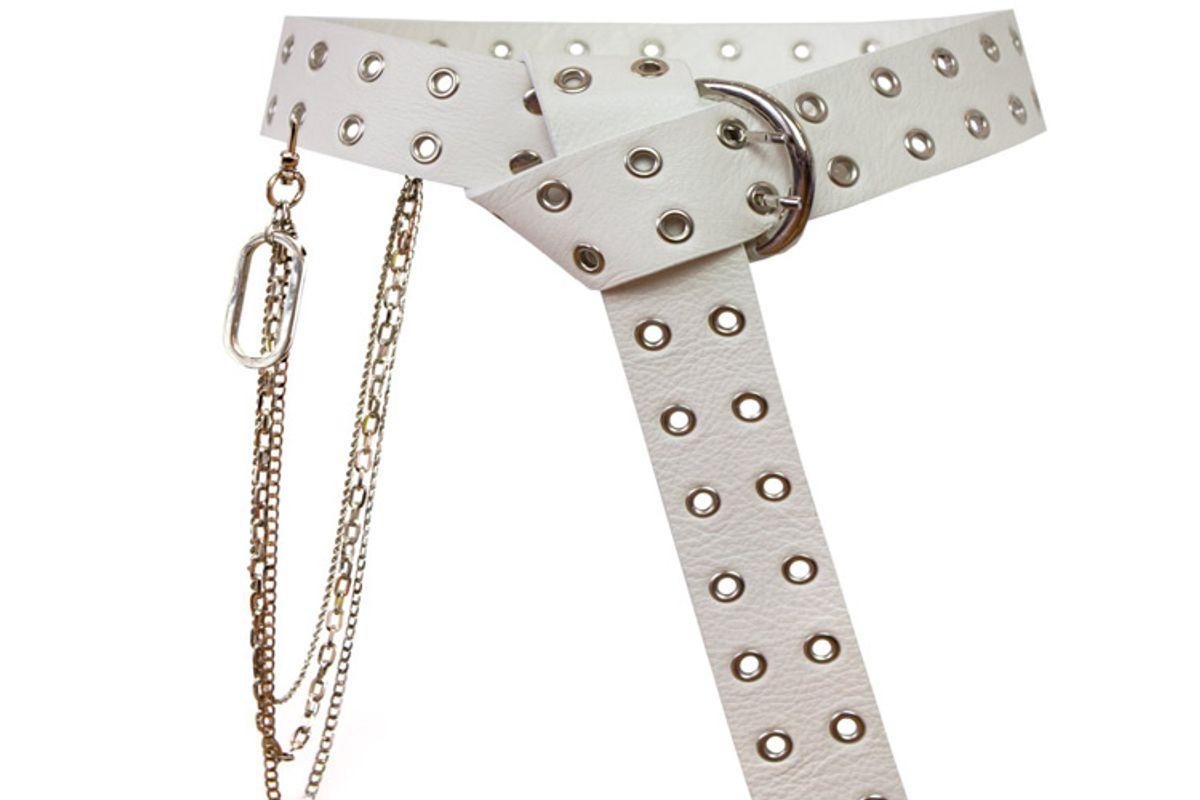 orseund iris leather belt w chain set off white