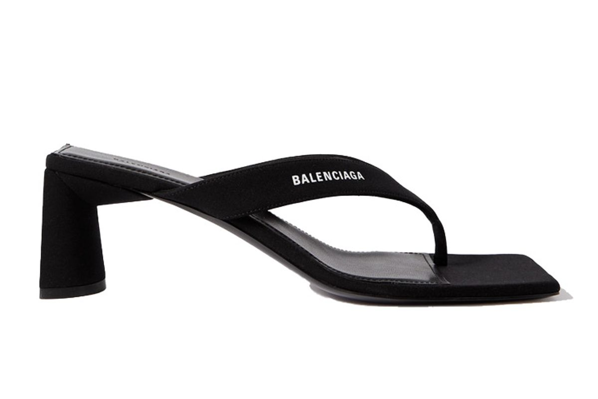balanciaga logo print jersey sandals