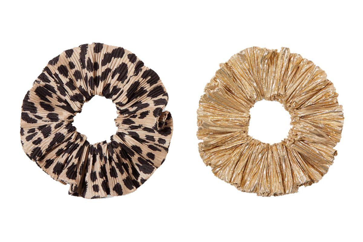 loeffler randall hailey set of two leopard print satin and lame hair ties