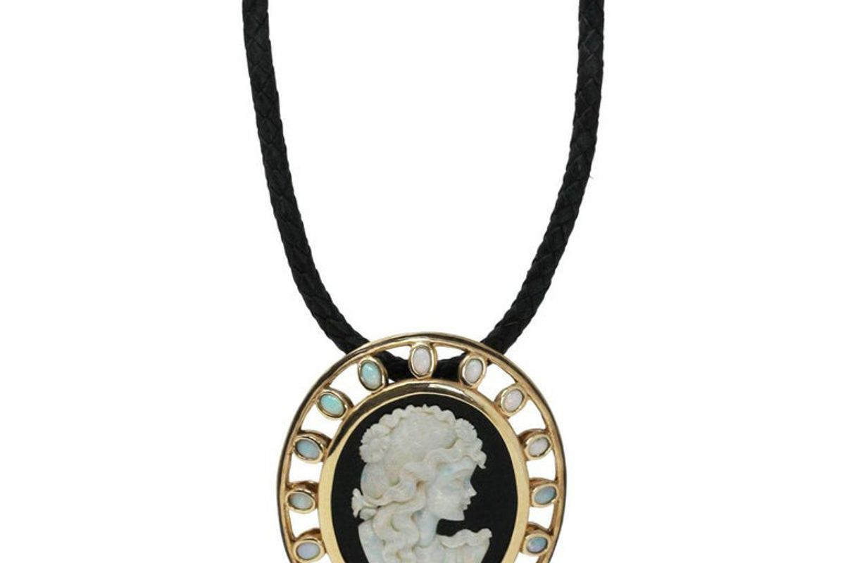 vintage large onyx opal cameo pendant on leather cord pendant necklace