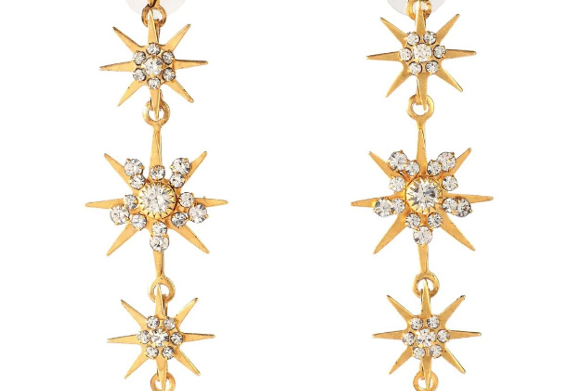 elizabeth warren 24 karat gold plated swarovski crystal earrings