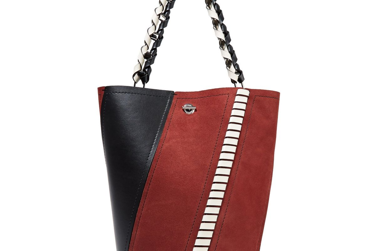 Hex Paneled Leather and Suede Tote