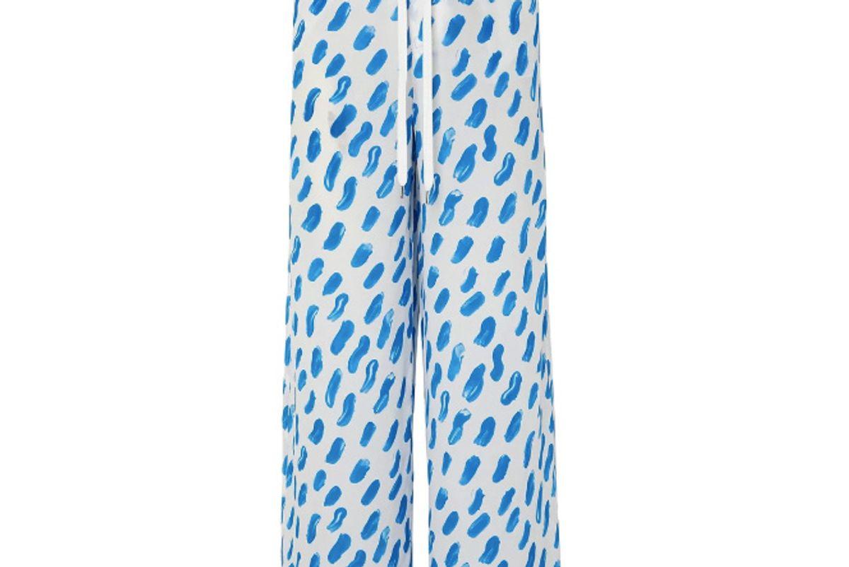 marni printed silk georgette wide leg pants