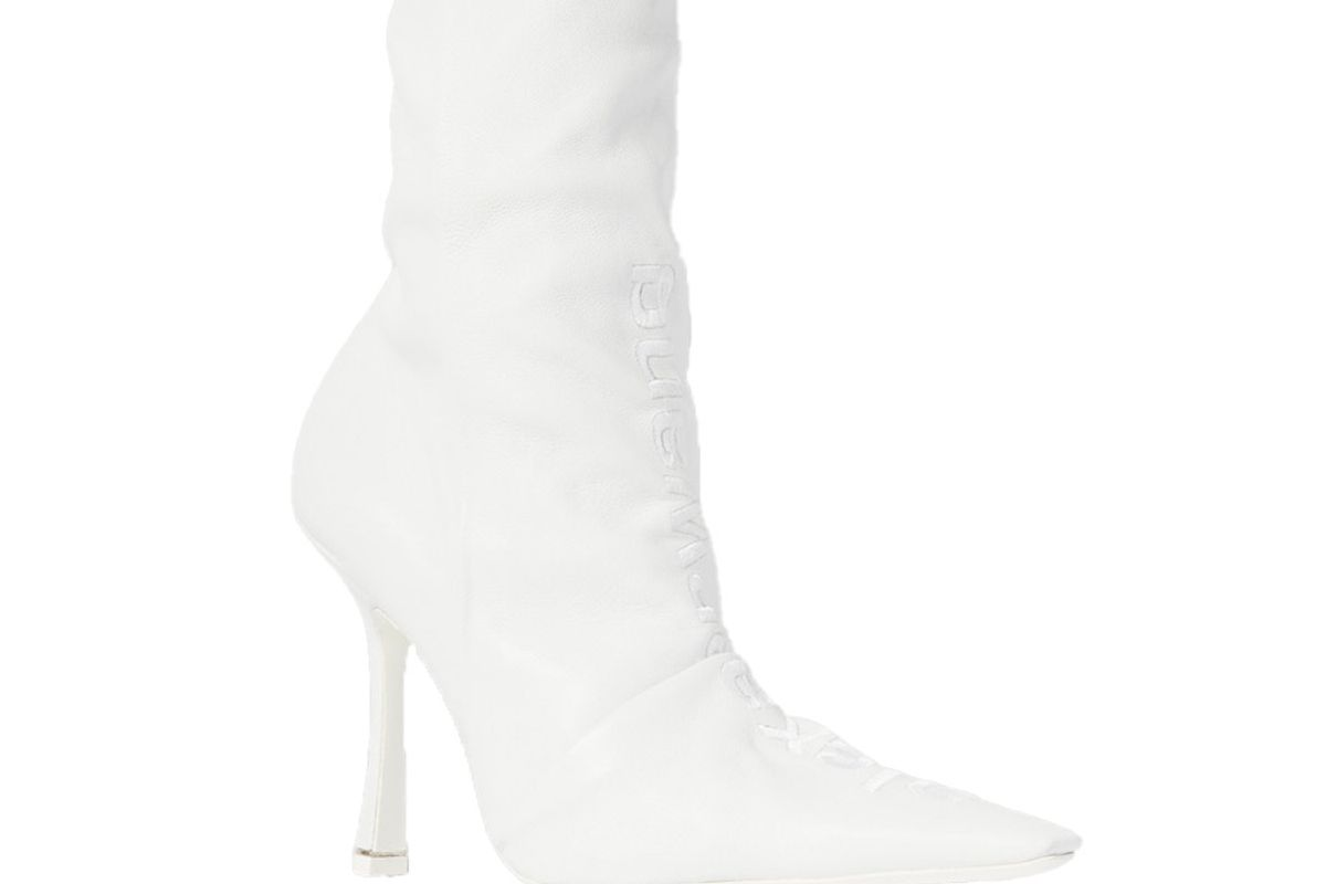 alexander wang vanna logo embroidered ruched leather sock boots