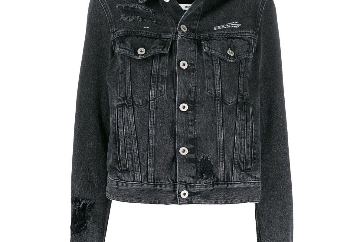 off white loose thread denim jacket