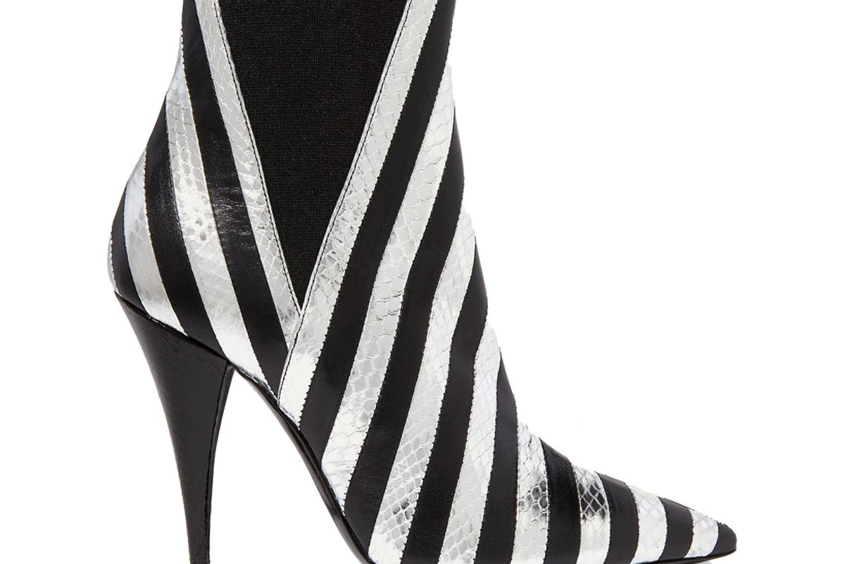 saint laurent kiki striped leather and watrsnake ankle boots