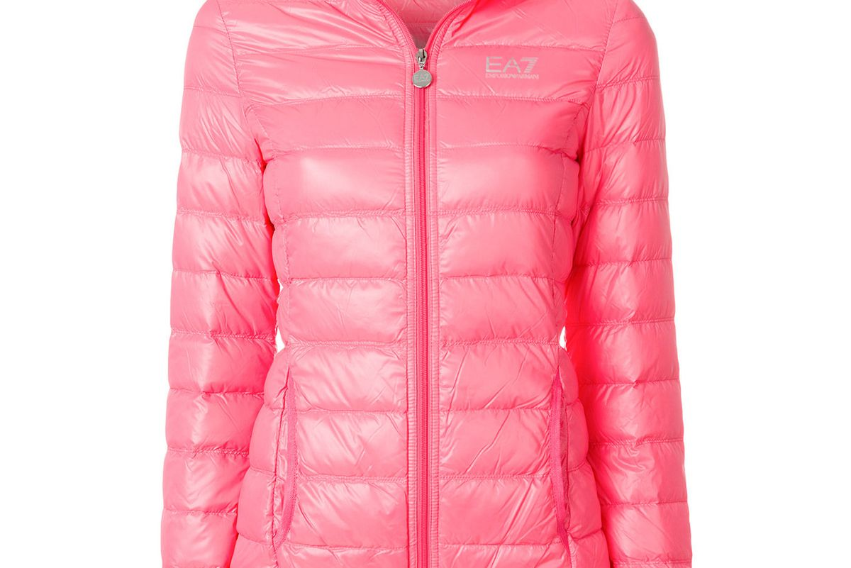 ea7 emporio armani logo print puffer jacket