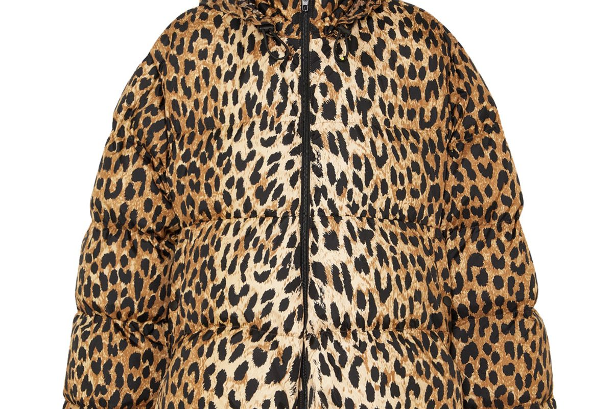 balenciaga c shape hooded leopard print quilted shell jacket