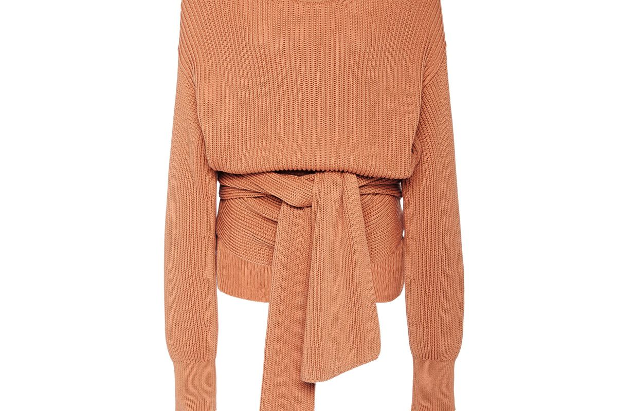 joseph cote anglaise tie detail ribbed wool sweater