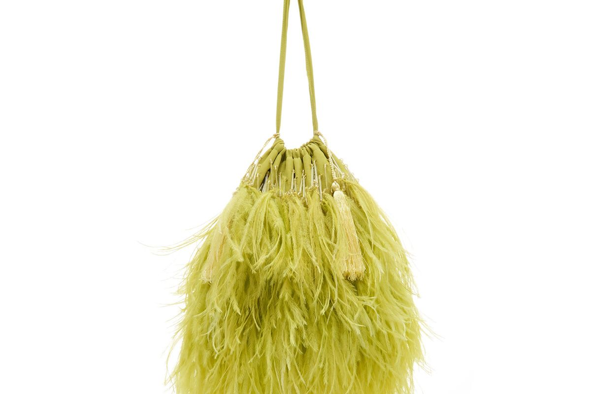attico feather trimmed satin pouch