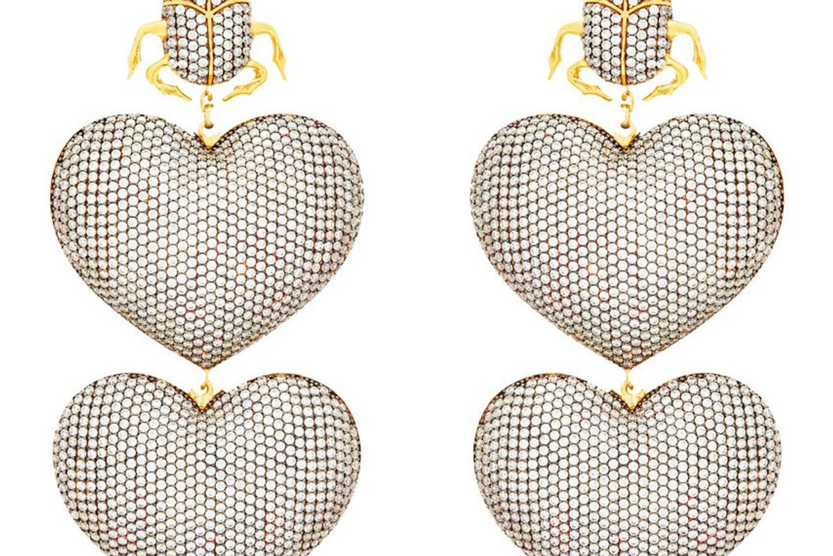 begum khan scarab mon amour gold plated clip earrings