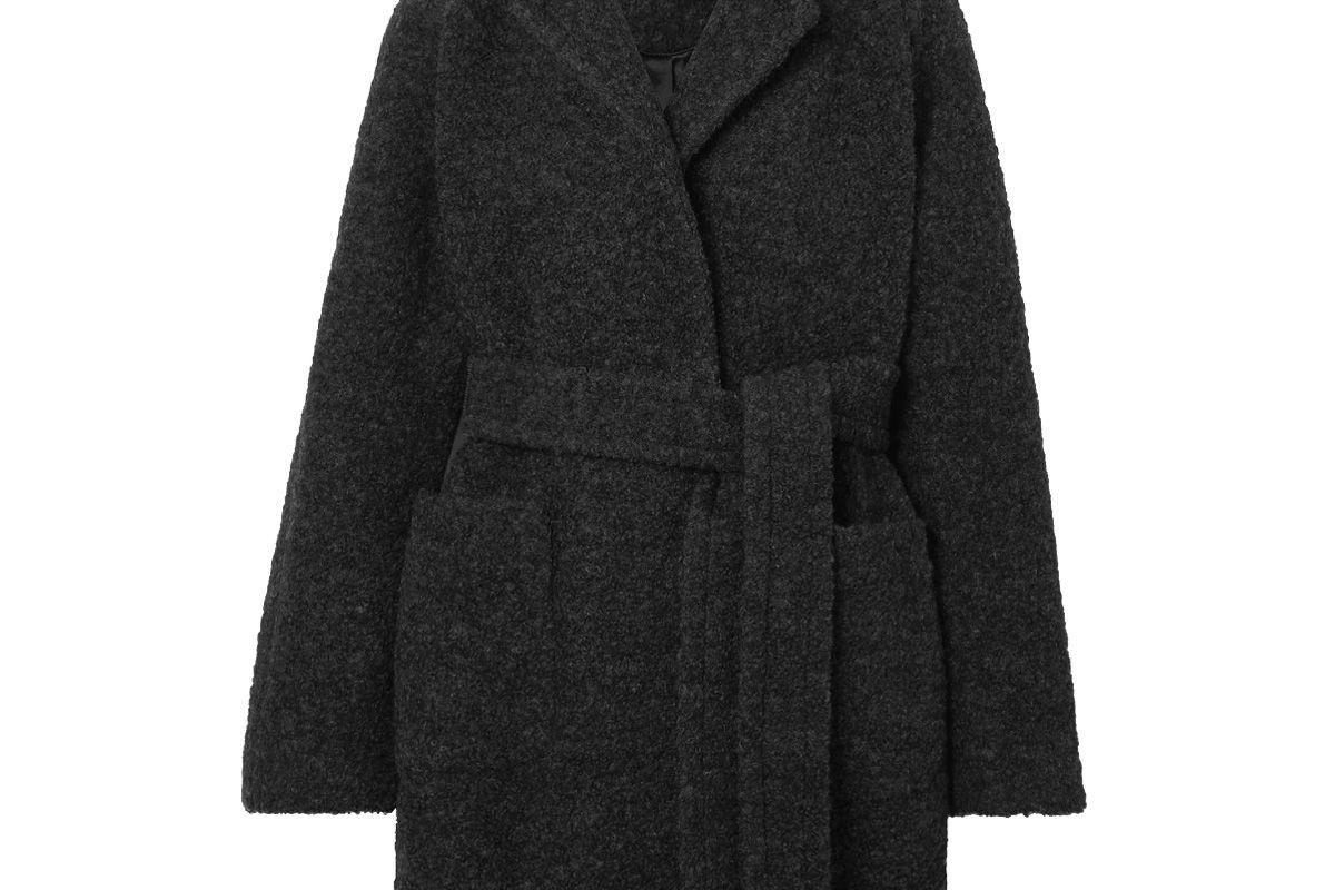 ganni belted wool blend boucle coat