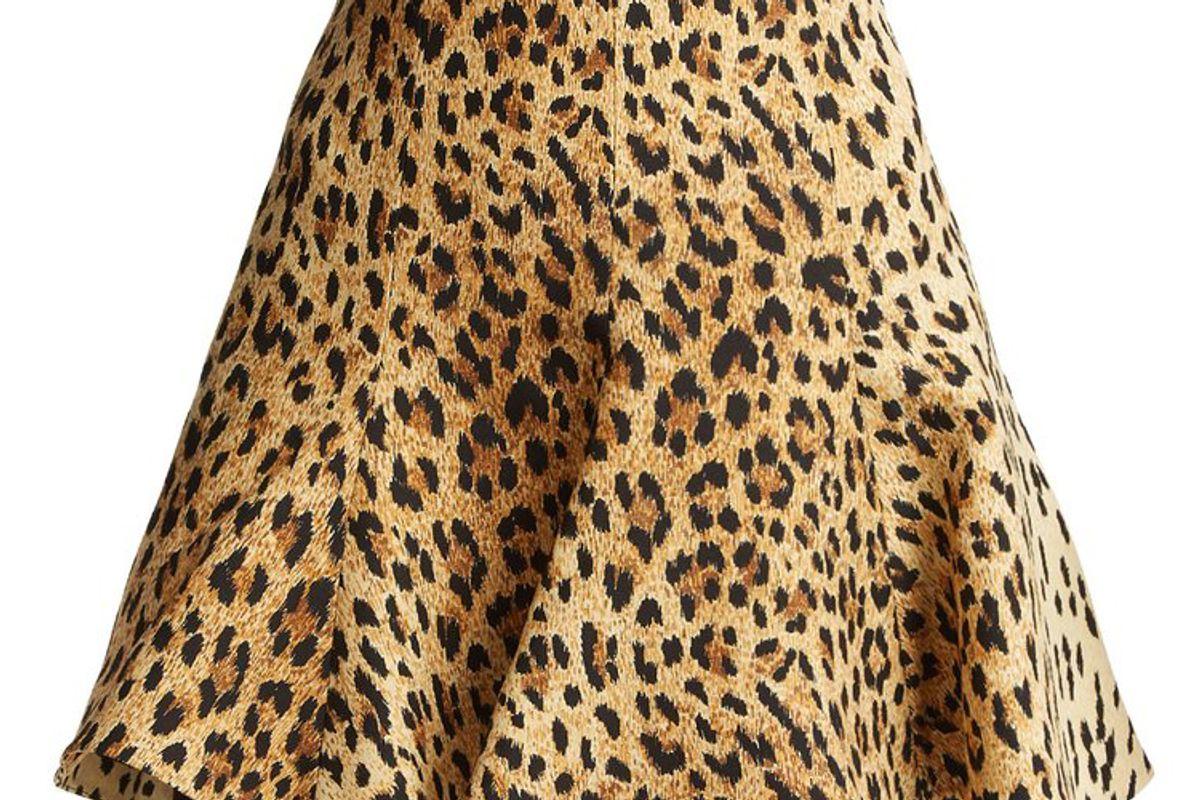 valentino flared leopard print mini skirt