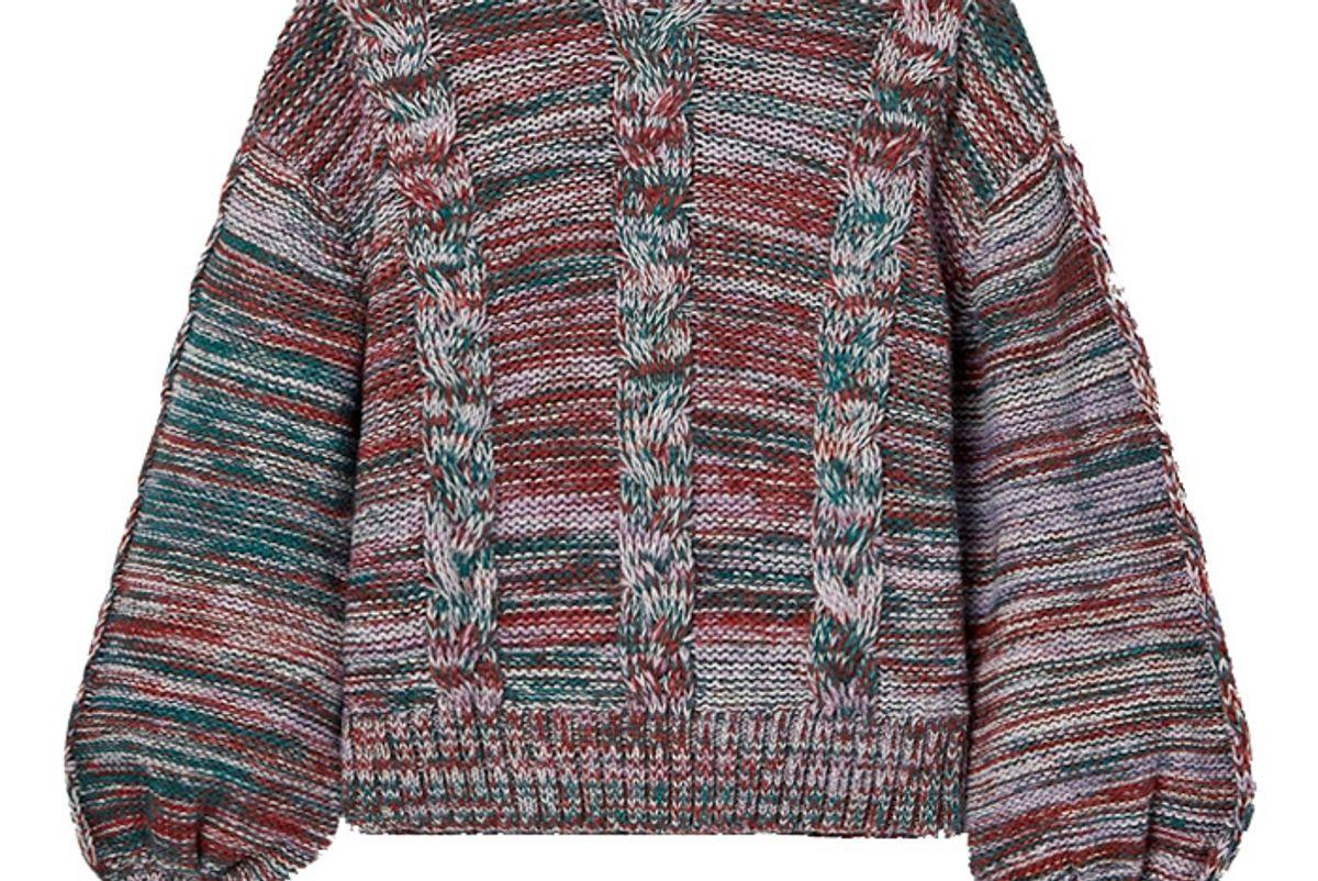 stine goya gio melange cable knit sweater