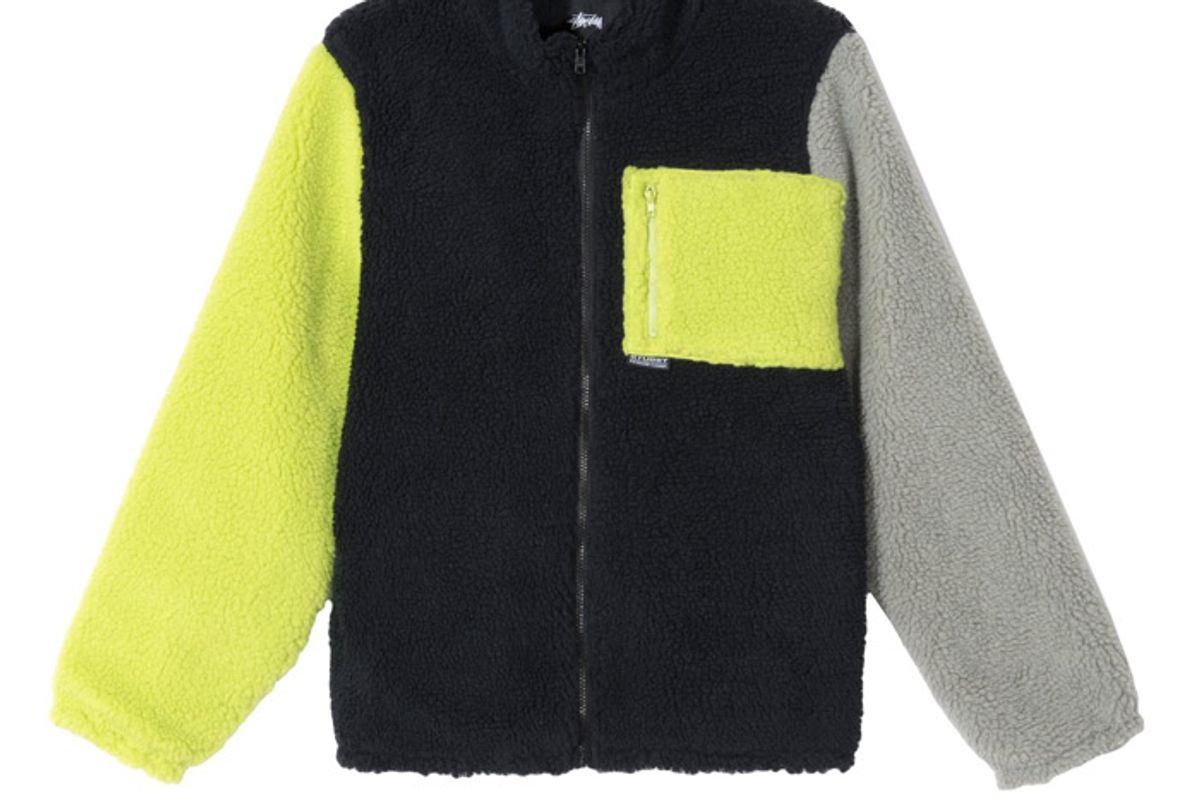 stussy color block sherpa jacket