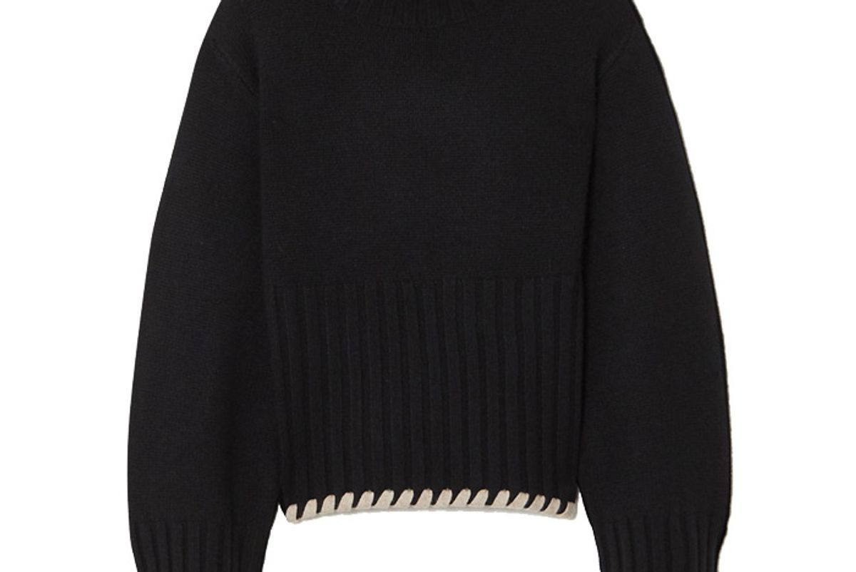 khaite collette whipstitched ribbed cashmere sweater