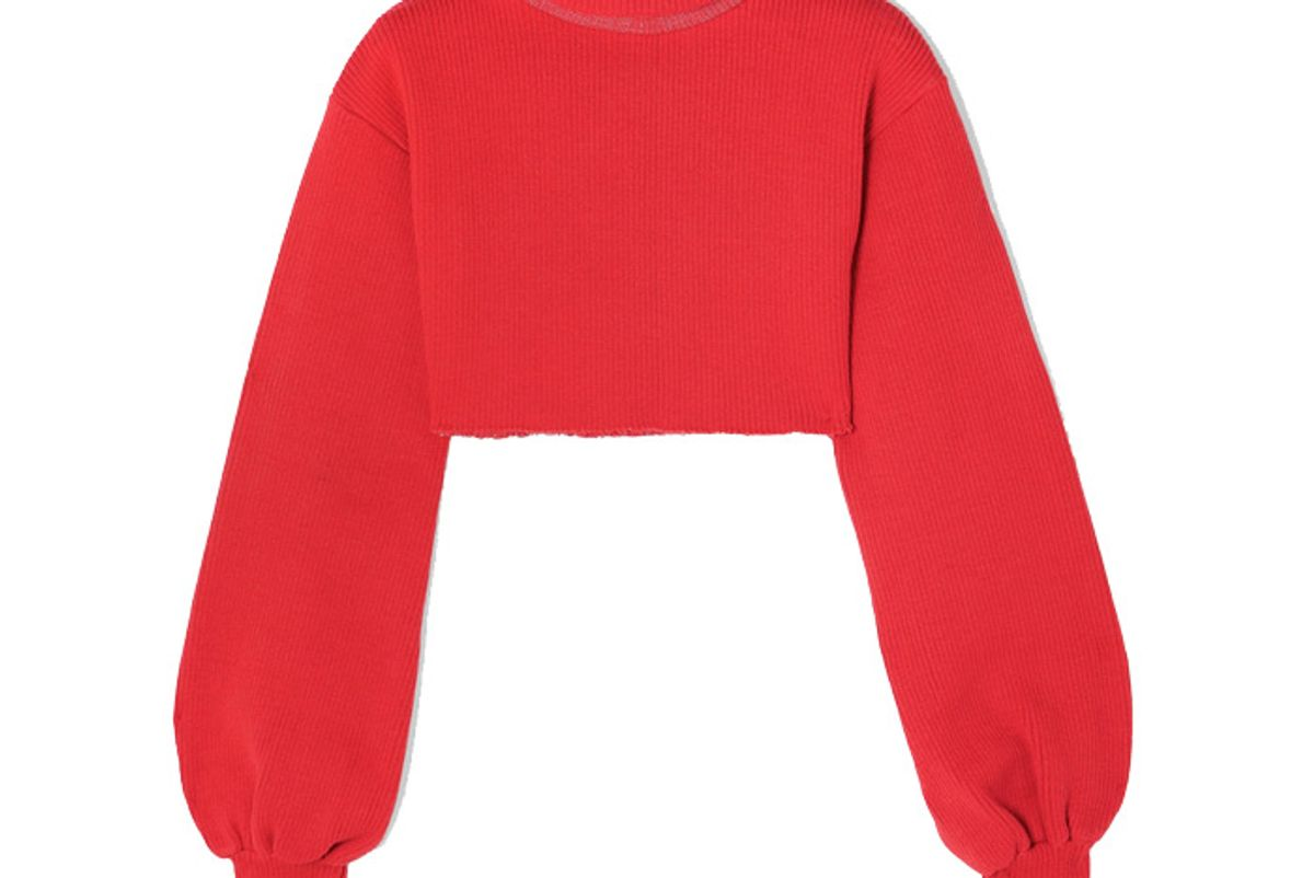 orseund iris distressed cropped ribbed knit turtleneck sweater