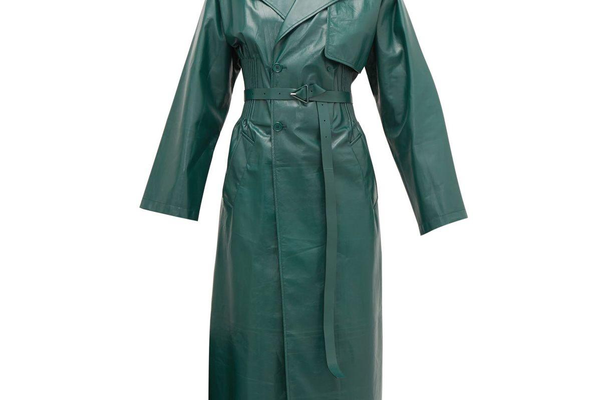 bottega veneta ribbed waist double breasted leather trench coat