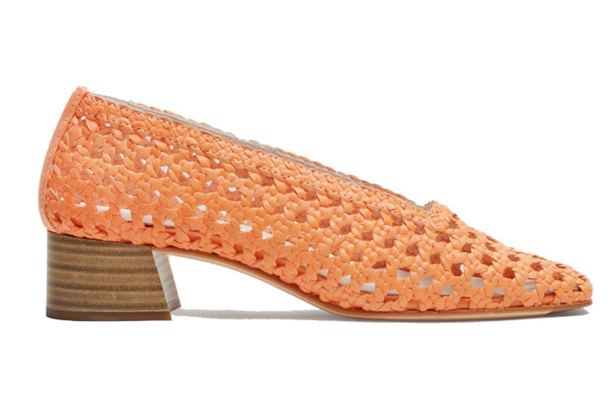 miista taissa neon orange leather mid heels