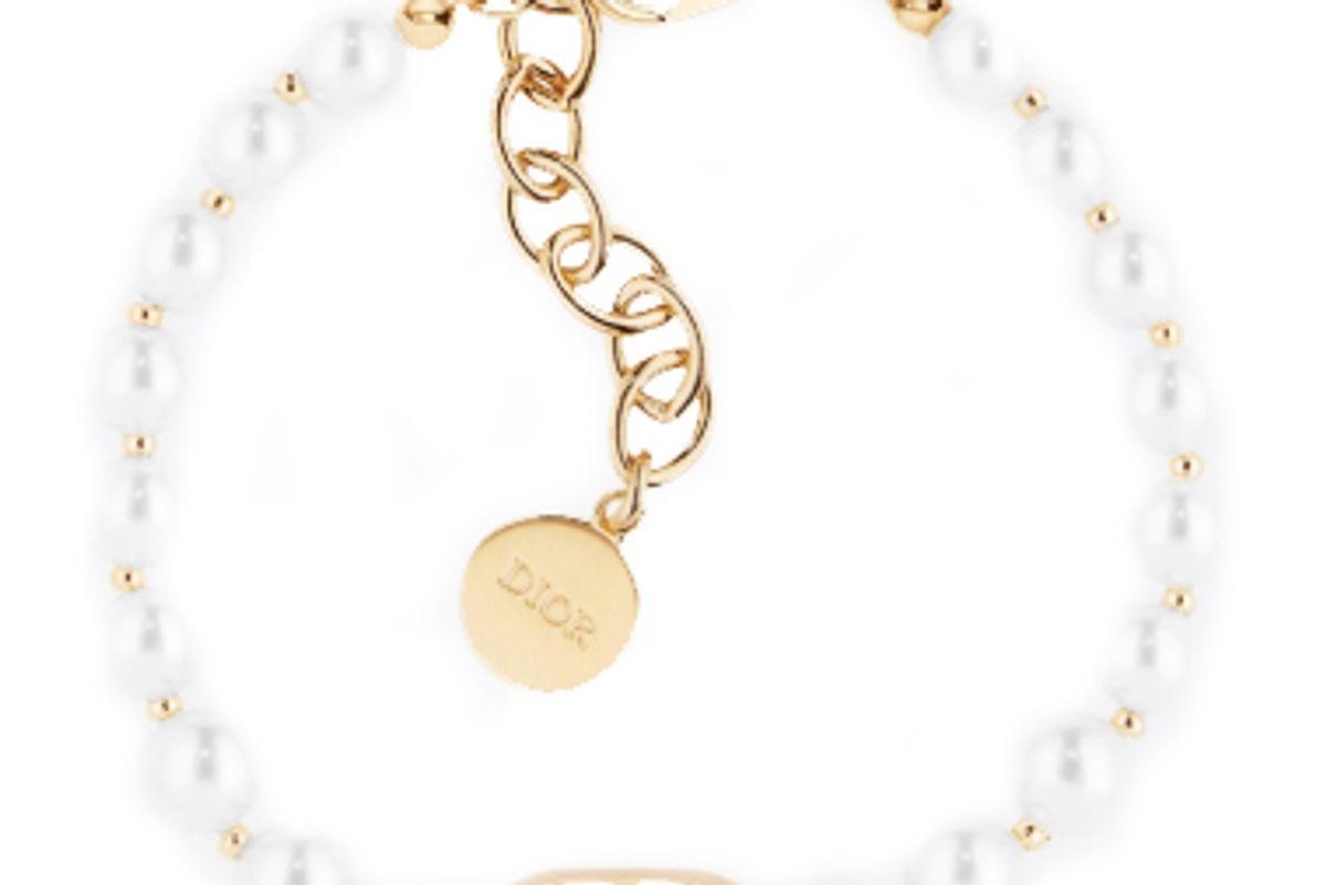 dior white resin bead 30 montaigne gold finish bracelet