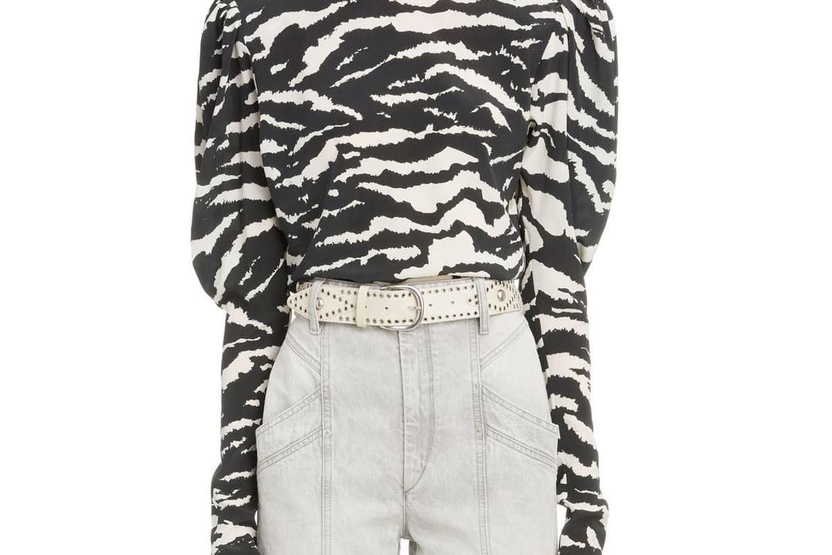 isabel marant zebra print puff sleeve stretch silk blouse