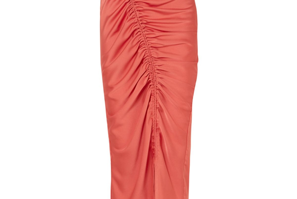 the line by k sisilia ruched hammered satin skirt
