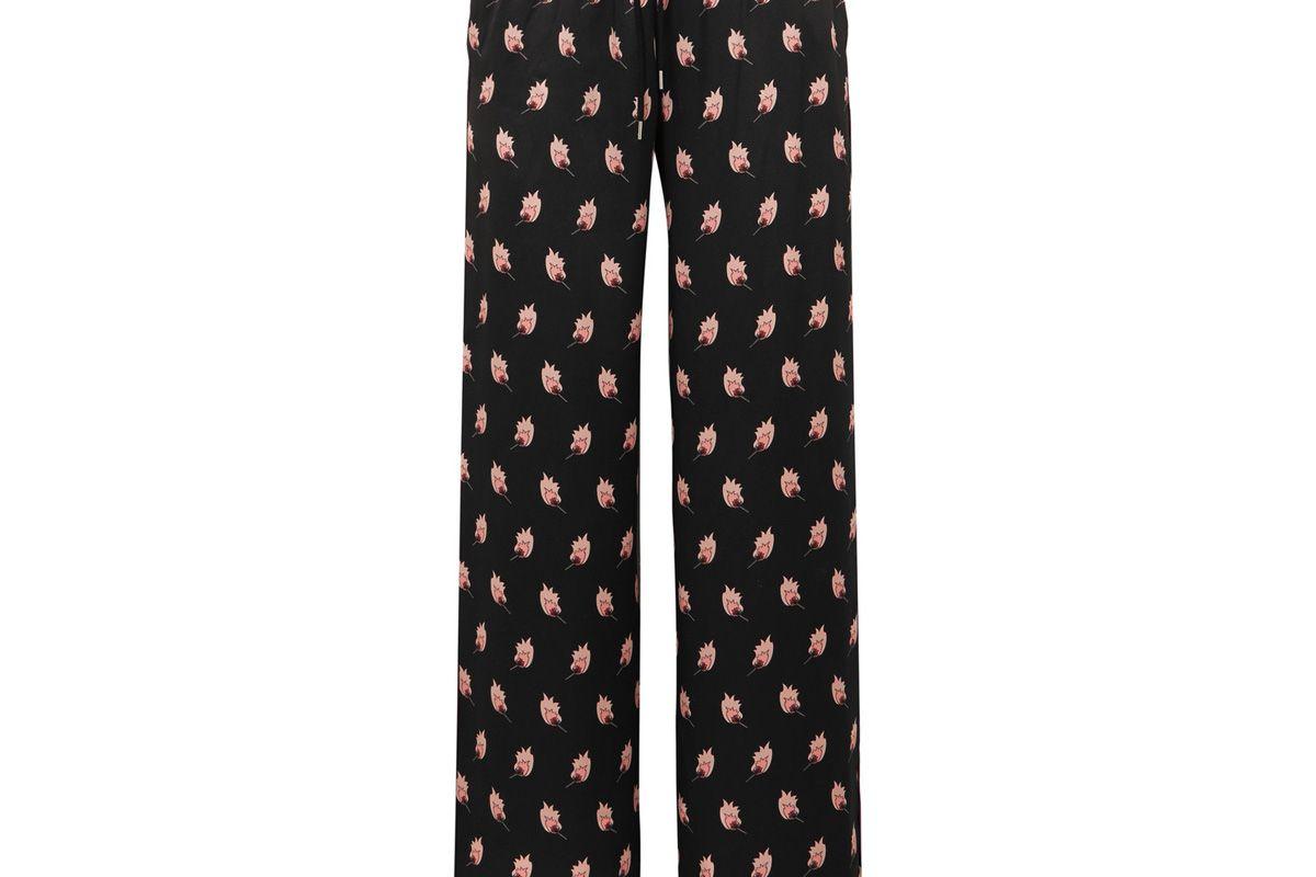 markus lupfer alexis printed silk satin track pants