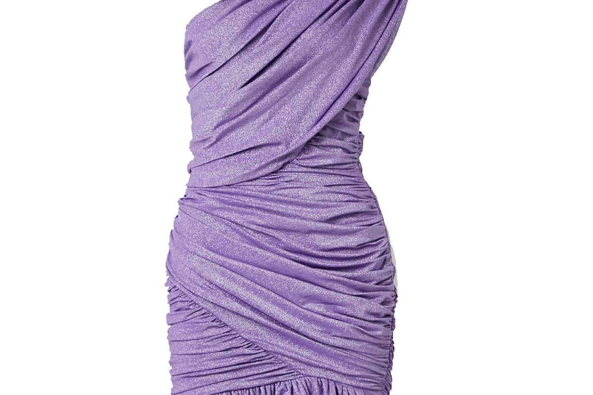 redemption one shoulder ruched metallic stretch jersey mini dress
