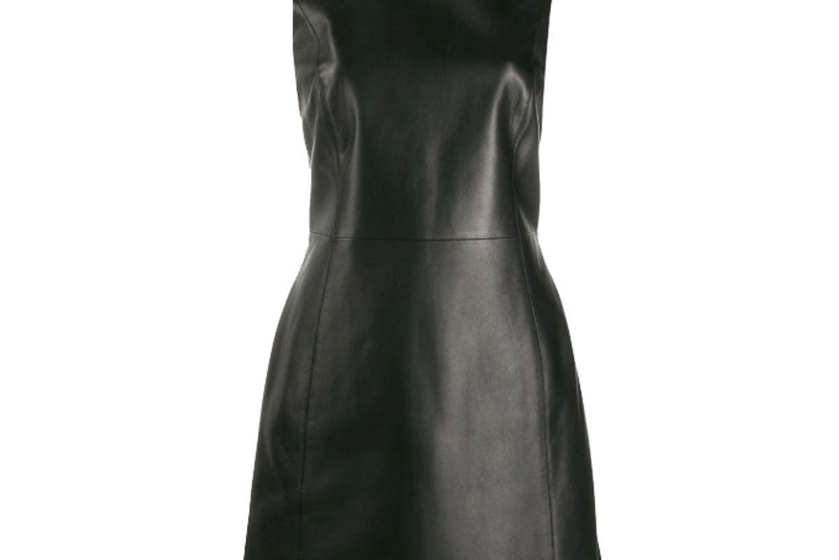 versace safety pin sleeveless leather dress