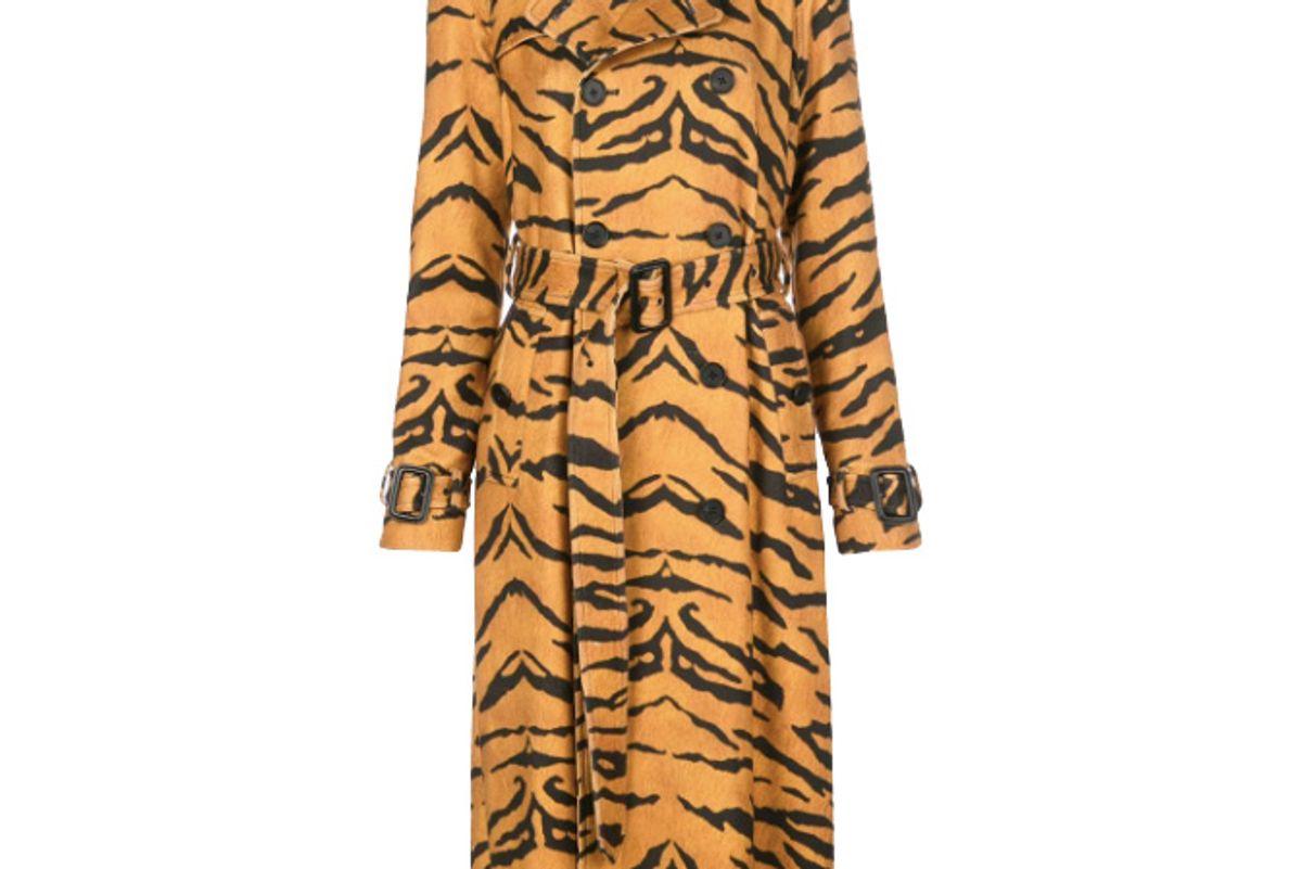 adam lippes tiger print trench coat