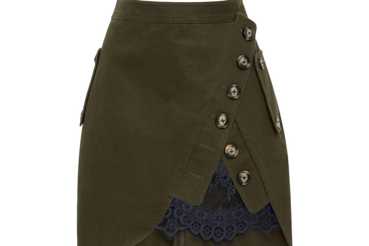 Lace-Paneled Mini Skirt