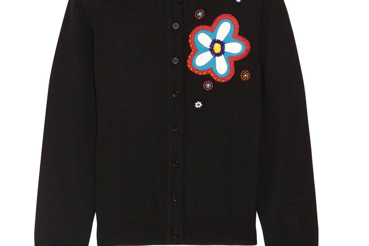 Embellished Appliquéd Wool Cardigan