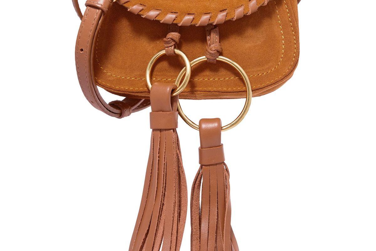 Polly Leather-Trimmed Tasseled Suede Shoulder Bag