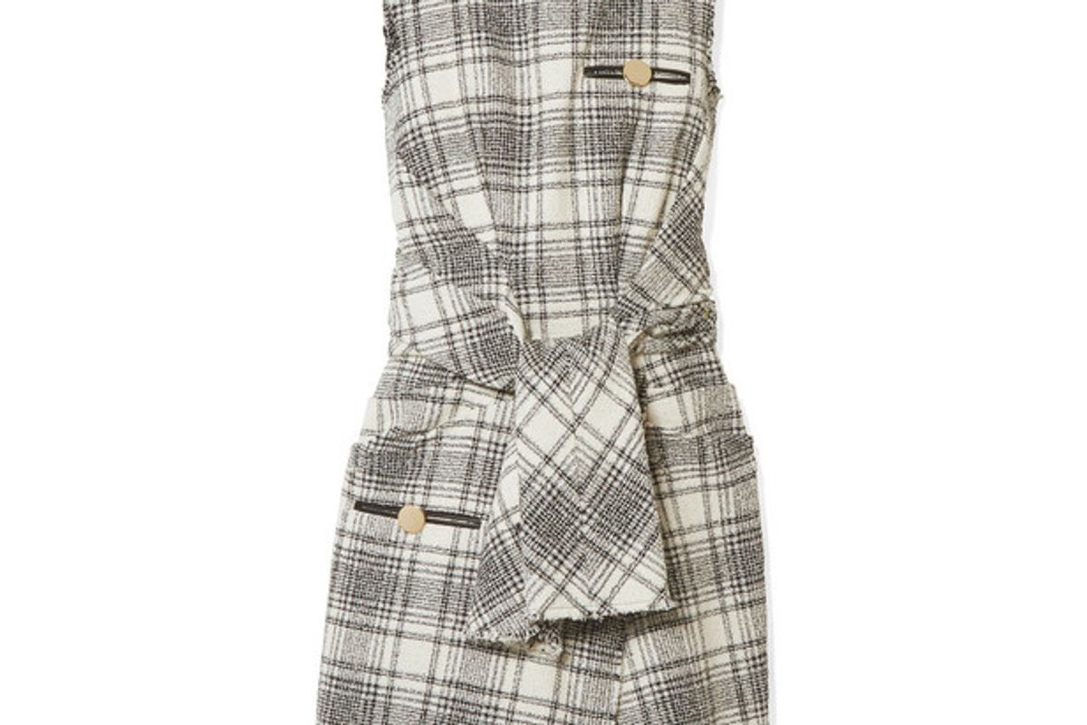 alexander wang leather trimmed bouclé tweed mini dress