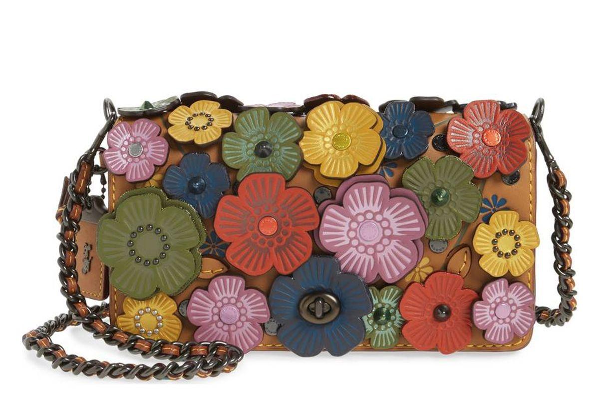 Dinky Flower Appliqué Leather Crossbody Bag