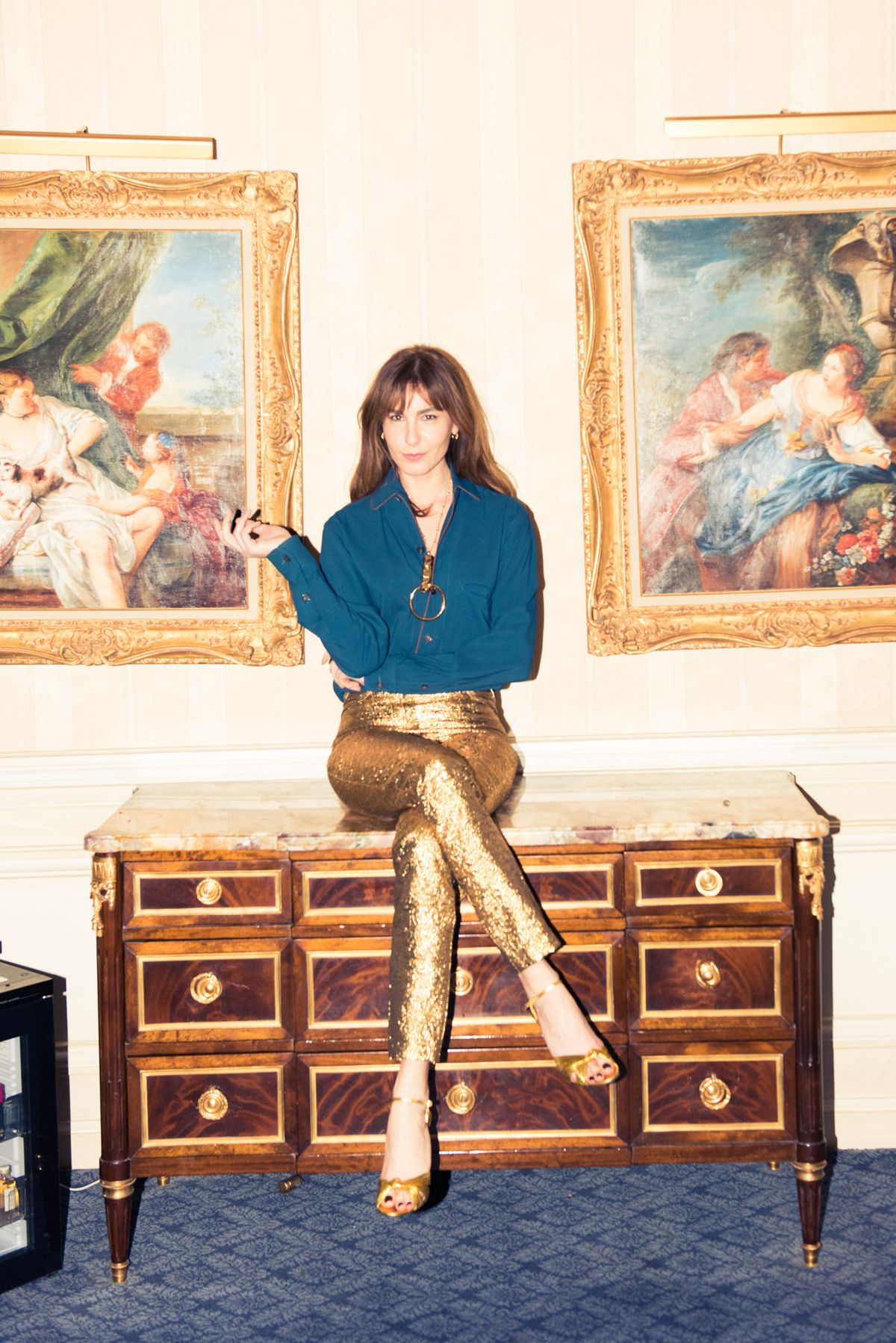 This Turkish Street Style Star Wore a YSL Gold Leather Suit to Go Glamping