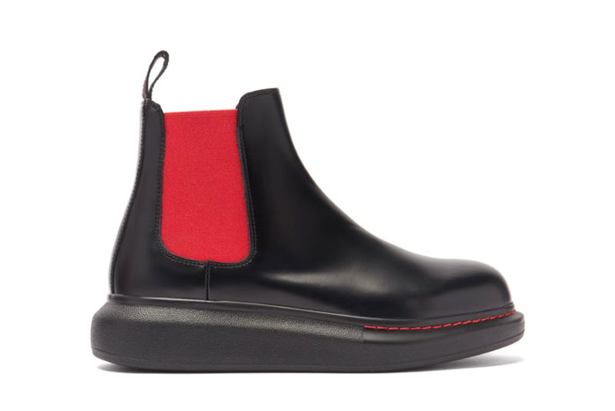 alexander mcqueen hybrid exaggerated sole leather chelsea boots