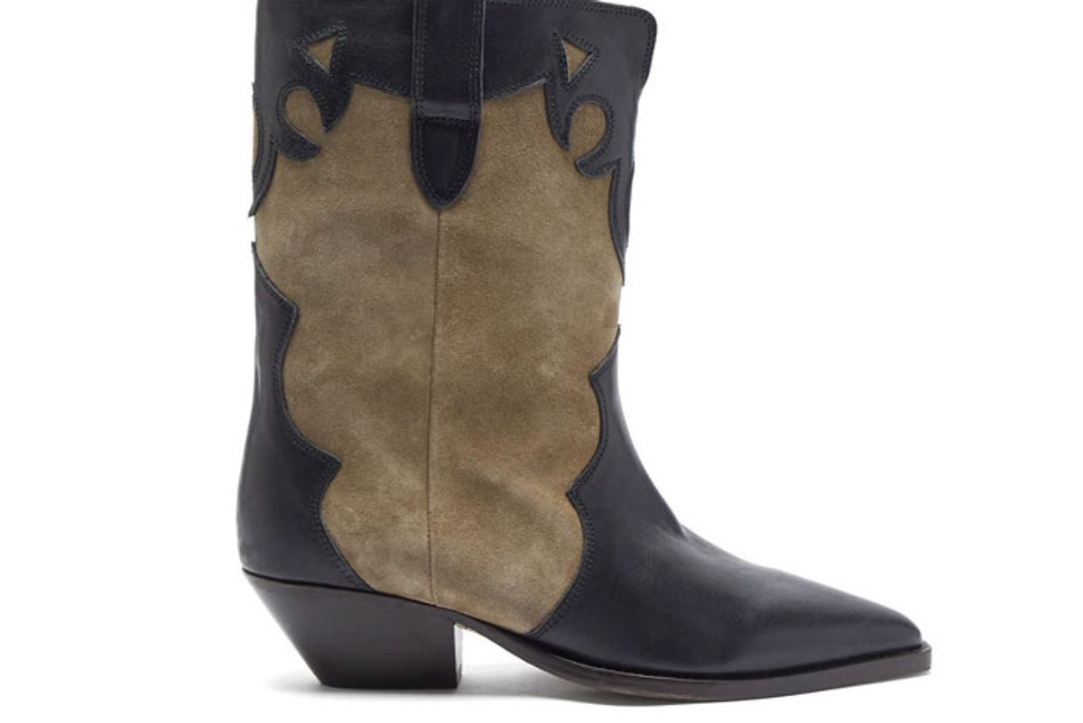 isabel marant duoni western leather suede ankle boots